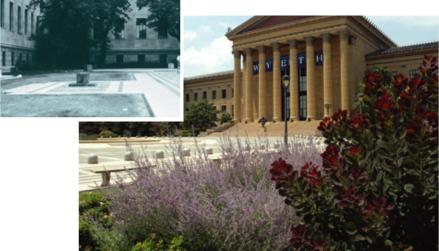 The gardens at the Philadelphia Museum of Art