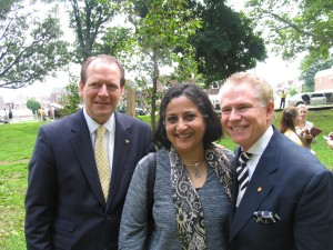 President and CEO John M. McNeil, Maitreyi Roy, and Founder and Chairman Richard J Stephenson